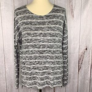INC Marled Gray Soft Striped Top Crew Neck S